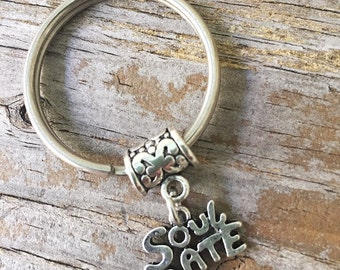 Soulmate Keychain/ Soul Mate Key Chain/ Soulmate Keyring/ True Love Charm/ Love Keychain/ Best Friend Keyring or Necklace