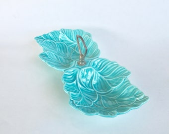 Vintage 1950s Light Blue/Aqua California Pottery Leaf Shaped Snack/Candy Dish with Handle