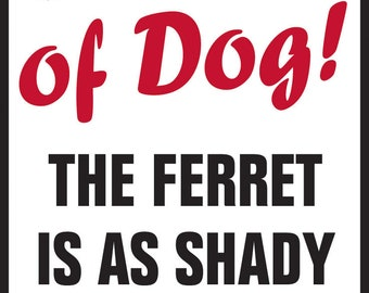 "Beware of Dog! The Ferret is Shady as Aluminum Dog Sign - 9"" x 12"""