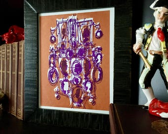 CAMEOS #110 | mod Victorian silhouettes in copper and purple screenprint (8x10)