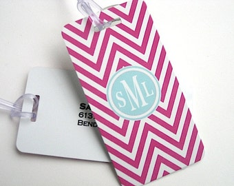 Luggage Tag Pair - Hot Pink Chevron Custom  Blue Monogram Luggage Tag - Travel Accessories - Personalized Luggage Tag
