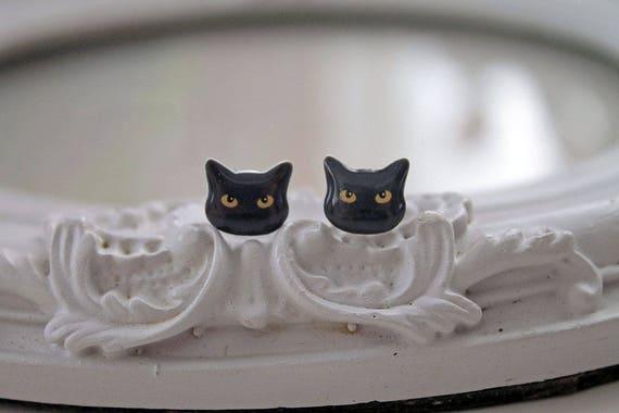 Black Kitty cats  Earrings cute kawaii