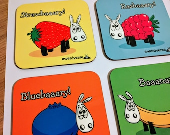 Fruit Baaasket!, Set of sheep coasters, Funny drinks mat set, Sheep gifts, Fruit gifts, Colorful homeware, gifts for knitters, strawberry