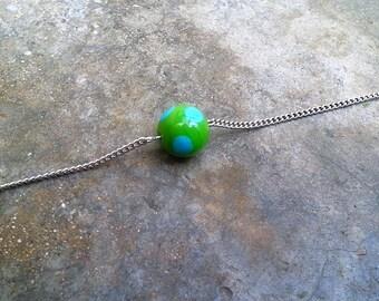 silver metal chain bracelet - bracelet glass bead - fashion bracelet - colorful Bead Bracelet - fashion bracelet