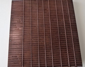 Vintage Copper Plated Letterpress Printer Block, Large Form Printing Plate, Grid Pattern, Press