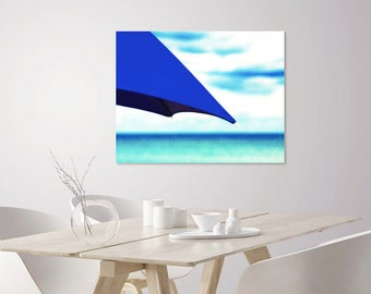 Beach Umbrella Art Print | Blue Beach Umbrella + Blue Ocean Waves Photography | Beach Wall Art | Nautical Decor Wall Art | Coastal Decor