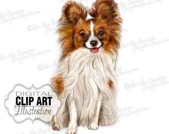 Papillon Dog Clip Art | Color Illustration | Dog Clipart Digital Download | Animal Art | Digital Scrapbooking | Scrapbook Supplies