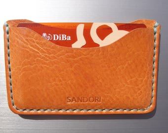 Sandori credit card case, case, genuine Italian leather, light brown with contrast stitching in aqua, handmade
