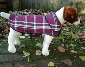 Burgundy and White Plaid Quilted Coat - Size Small 12 to 14  Inch Back Length