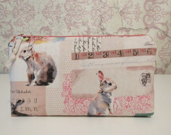 Bunny Collage Zipper Pouch // Cotton Travel Organizer