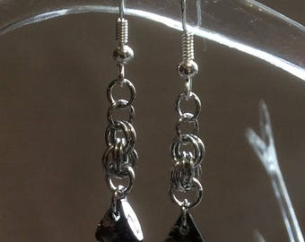 Double Spiral Chain Mail Earrings with Silver Night Crystal