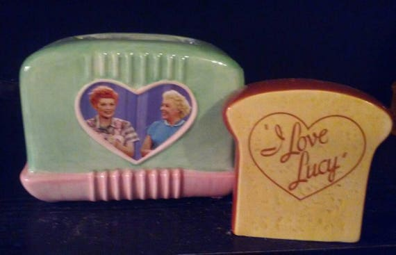 Vintage I Love Lucy, Lucy and Ethel, Toaster and Bread Salt and Pepper Shaker Set