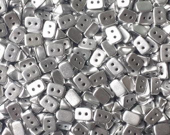 50 St. TRIOS Beads 6x4mm Two Hole Beads Opaque Bright Silver (01700)