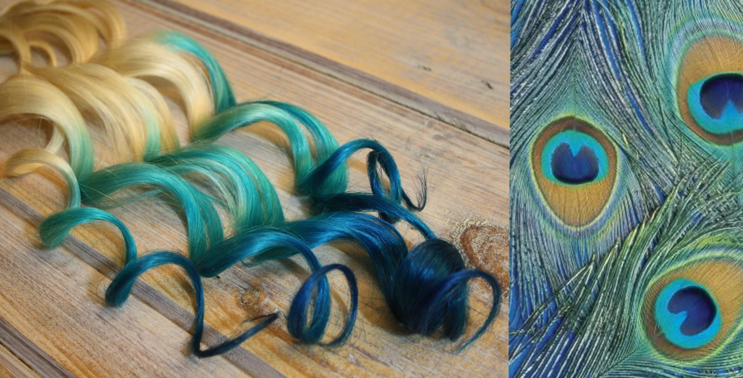 Peacock Blue Reverse Ombre Hair Extensions Purple Ombre Clip