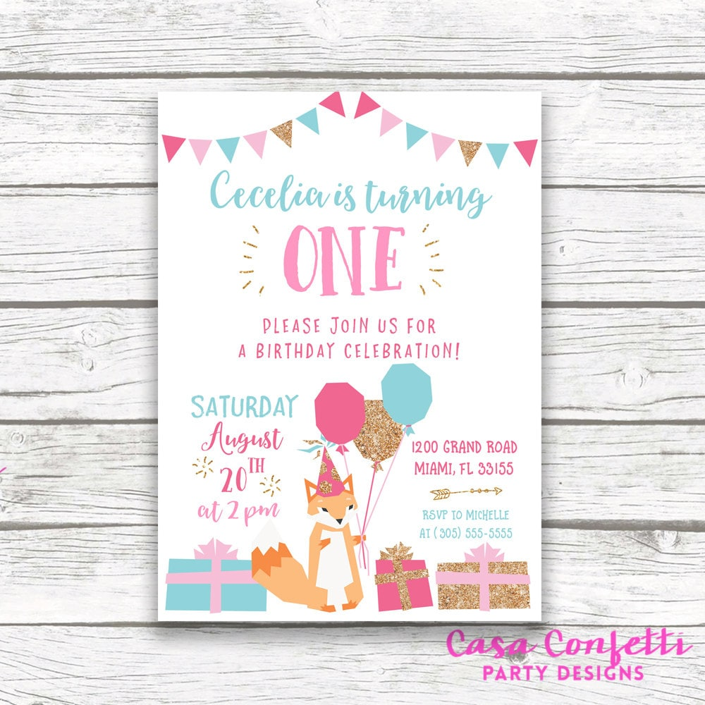 Fox Birthday Invitation Girl, Fox Invitation, Fox Birthday Party ...