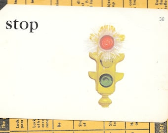 STOP/traffic light/stop and go/Vintage Vocabulary Flashcard