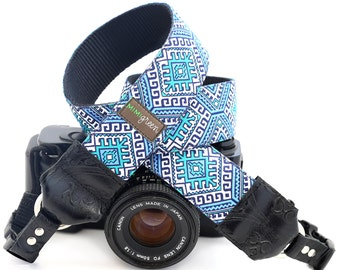 The Hapi in Blue Camera Strap with Native Pattern and Quick Release Buckles -- 1.5 inches wide
