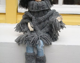 Poncho gray with twists and fringes, for dolls BJD MSD