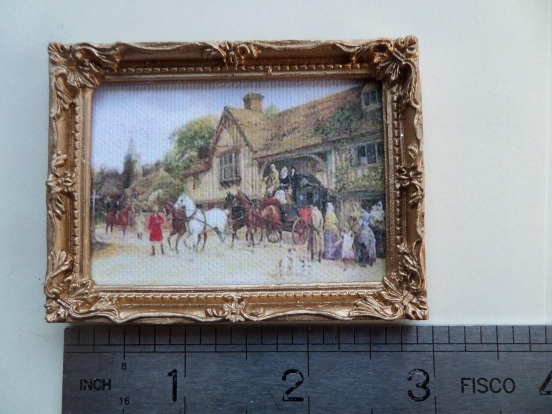 1:12th marco de cuadro/espejo en oro muñecas casa miniatura