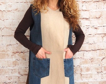 Denim sheep-upcycled unique-elegant-jeans wool vest, jacket, cardigan