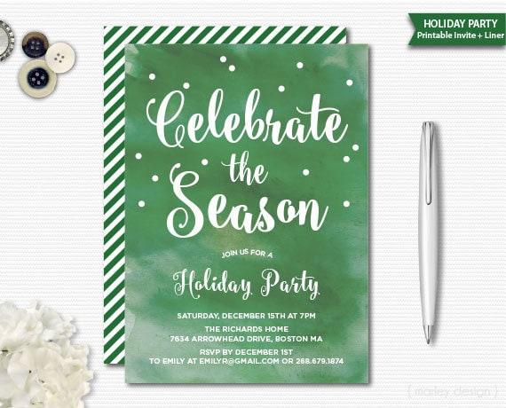 Aquarell Einladung Weihnachten Party Urlaub Einladung Urlaub