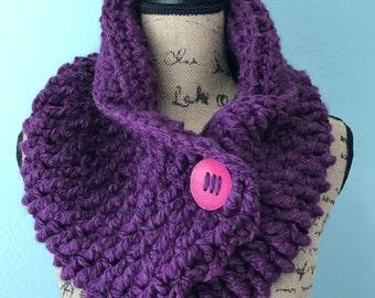 Purple Adjustable Crochet Button Cowl