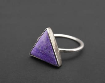 Purple Agate Triangle Ring, Sterling Silver