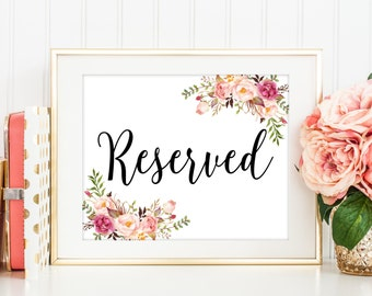 Reserved Sign, Reserved Signs Wedding, Reserved Table Sign, Reserved Weding Sign, Reserved Lanscape, Reserved Seating Sign, Printable, C1