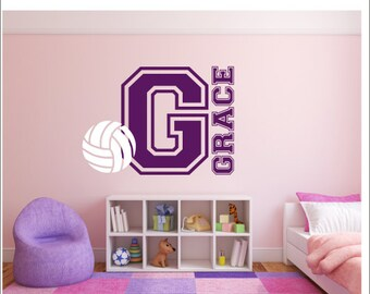 Custom Volleyball Wall Decal 0058 Personalized Volleyball