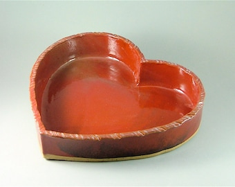 Pottery Hand-Built Red Heart Baking Dish