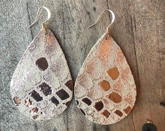 Snake Rose Gold Metallic Teardrop Leather Earrings