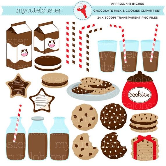 chocolate milk cookies clipart set clip art set of milk rh etsy com chocolate milkshake clipart Cookies and Milk for Santa Clip Art