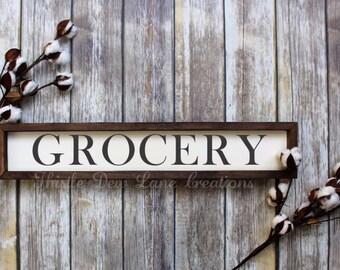 Grocery wood sign, kitchen decor, farmhouse decor