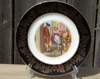 Antique Aynsley Porcelain Cabinet Plate Black & Gold Hand painted Collectibles