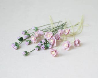 4-10 mm /  20    Lilac   Paper  Flowers and  Paper  Rose Buds