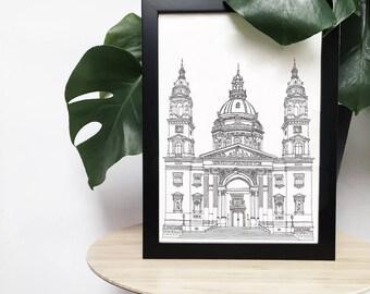St. Stephen's Basilica, Budapest, Hungary illustration