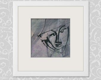 Painting faces 15 x 15 cm (5.9 x 5.9 inch) abstract art