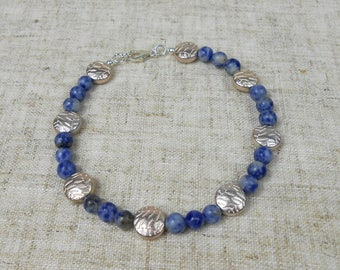 Sodalite Bracelet with Sterling Silver Clasp and Silver Plated Beads, Blue Bracelet, Gemstone Bracelet, Sodalite Jewellery, Chakra Bracelet