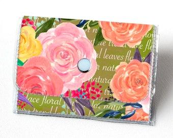 Vinyl Accordion Wallet - Joyful Spring4 /  floral, green, polka dot, flowers, small wallet, snap, cute, card case, vinyl wallet, women's