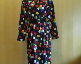Sale! Polka Dot Alert- Ms. Chaus 1980s Dress With Shoulder Pads