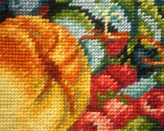 Apple Grapes and Wine Still Life finished framed needlepoint gobelin painting