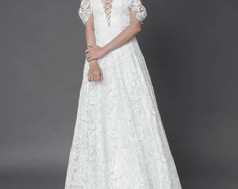 Bohemian lace wedding dress, Custom Made Wedding Dress, Boho wedding dress, Boho Lace  gown, A-line Bohemian gown, wedding dress
