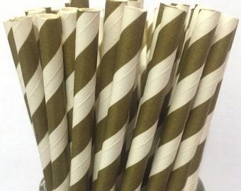 2.85 US Shipping -Gold Paper Straws - Gold Straws - Gold Cake Pop Sticks - Drinking Straws