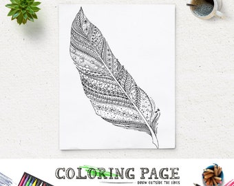 SALE Printable Adult Feather Coloring Page Feather Art