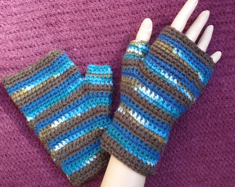 Small to Medium Crochet Fingerless Gloves Browns and Blues, Greens