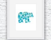 Bear Print, Blue Bear Art...