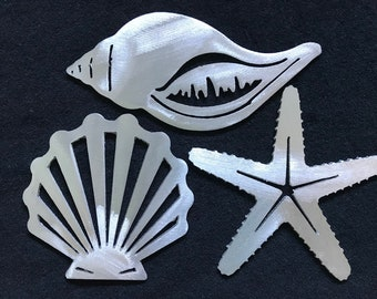 Brushed Aluminium shell and starfish set of 3