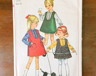 Vintage Sewing Pattern Simplicity 6660 Girl's Dress 1960s Jumper and Blouse Size 6X