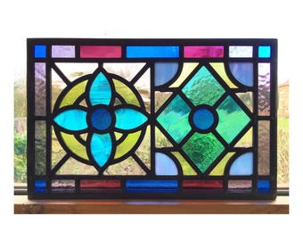Handmade Stained Glass Window Panel, Flower and Diamond Design, Traditionally Made, Made to order, Custom made