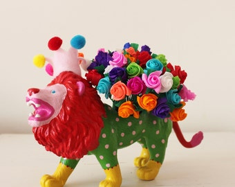 Hand Painted Party Lion Planter, Desk Tidy